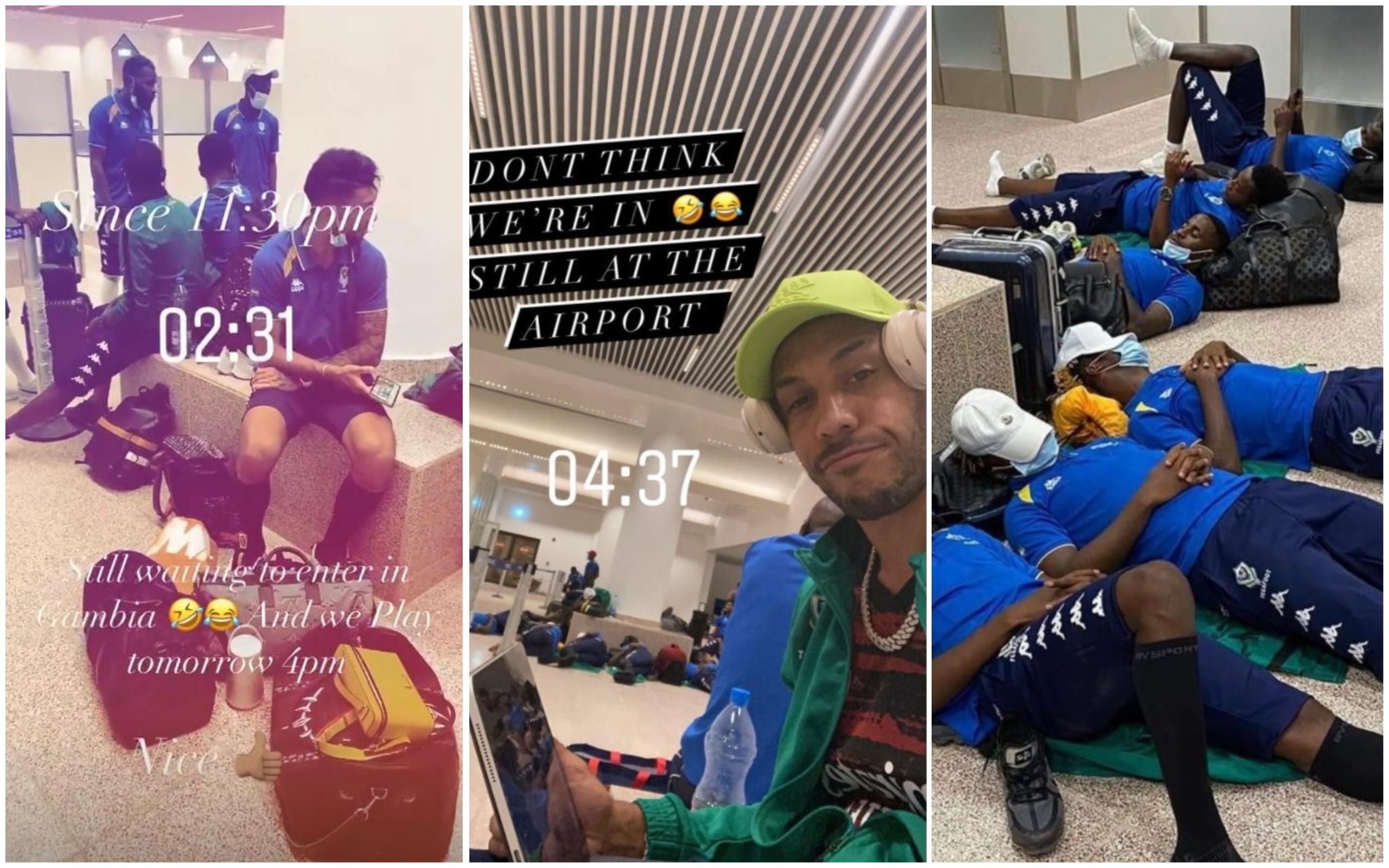Arsenal captain Pierre-Emerick Aubameyang and his Gabon team-mates were held hostage and forced to spend the night sleeping on the airport floor ahead of an Africa Cup of Nations qualifier against Gambia.
