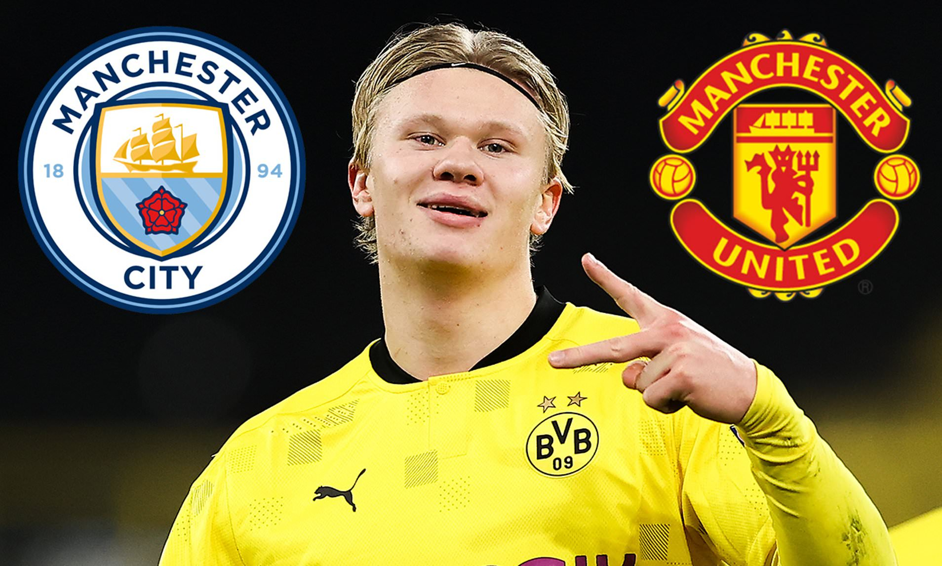 Manchester rivals, United and City are both reportedly interested in signing onfire Borussia Dortmund forward, Erling Haaland, who has started 26 games this season, netting 33 goals.